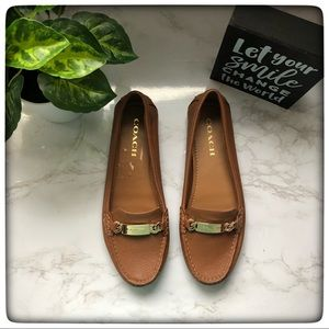EUC Brown and Gold Coach loafers size 8B